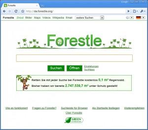 suchen für den regenwald mit forestle.org