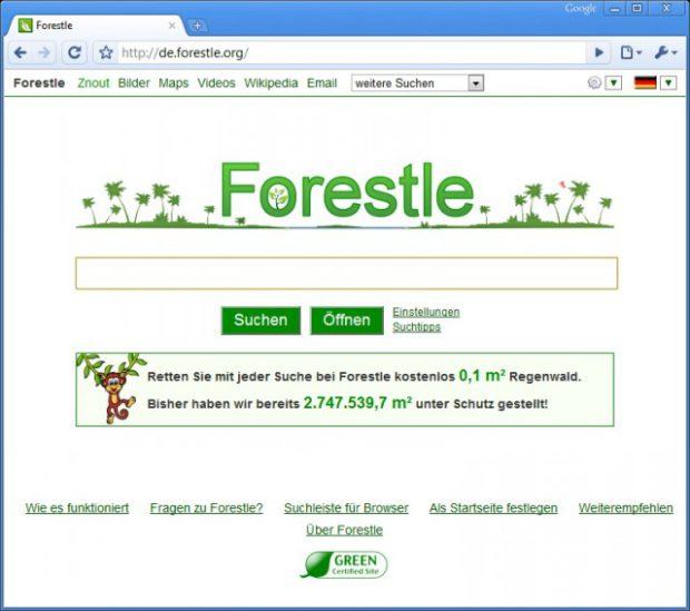 grüner suchen für den regenwald mit forestle?