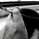 coffee & cigarette after repairing the bike (May 2008)