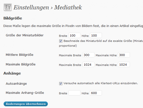 Einstellungen › Mediathek in WordPress