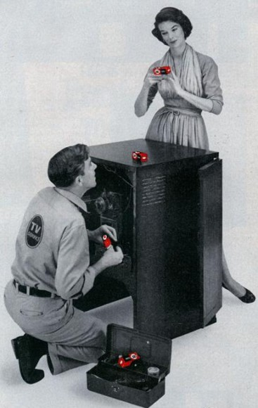 Here's one thing a woman can do about TV repairs (Oct, 1955)