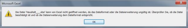 screenshot excel: datei kann nicht geöffnet werden