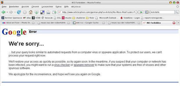 google sagt, ich sei spyware