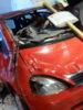 unfallszene mit bushaltestellenschild und viel blut (Juli 2011)