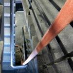 blick runter im treppenaufgang, die brandursache: angezündete kinderwagen (Juli 2011)