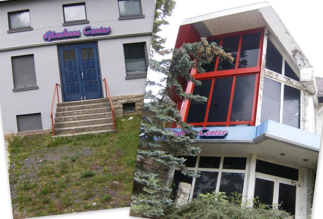 das glashaus center in worbis, thüringen ist eine disco und sieht ziemlich zu aus (juli 2011)