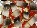 lachs auf tomaten und zwiebeln kurz vor dem ofen